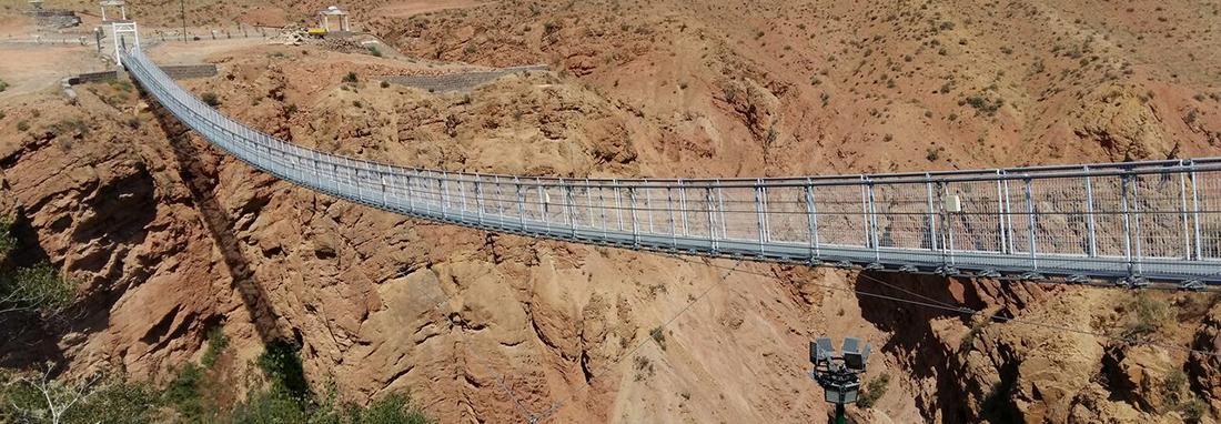 نخستین پل معلق غرب کشور بر فراز شاه دره افتتاح شد ، پل 170 متری در فاصله 105 متری زمین