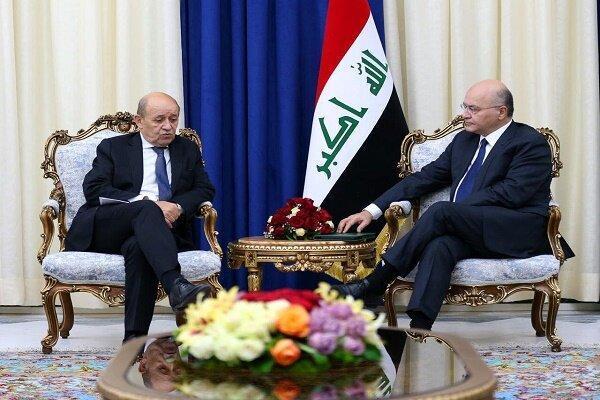 تأکید رئیس جمهور عراق بر توقف حمله به سوریه در دیدار وزیر خارجه فرانسه