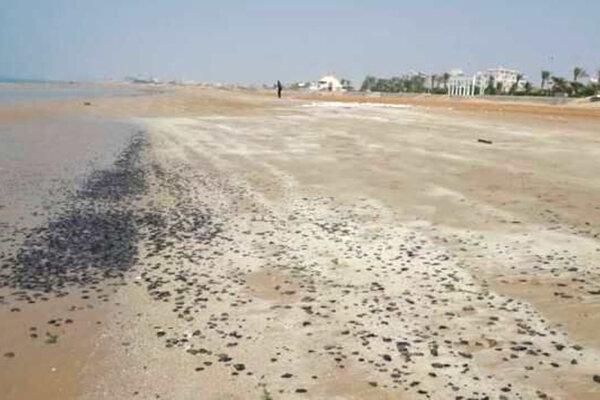 ساحل گناوه باز هم به لکه های نفتی آلوده شد