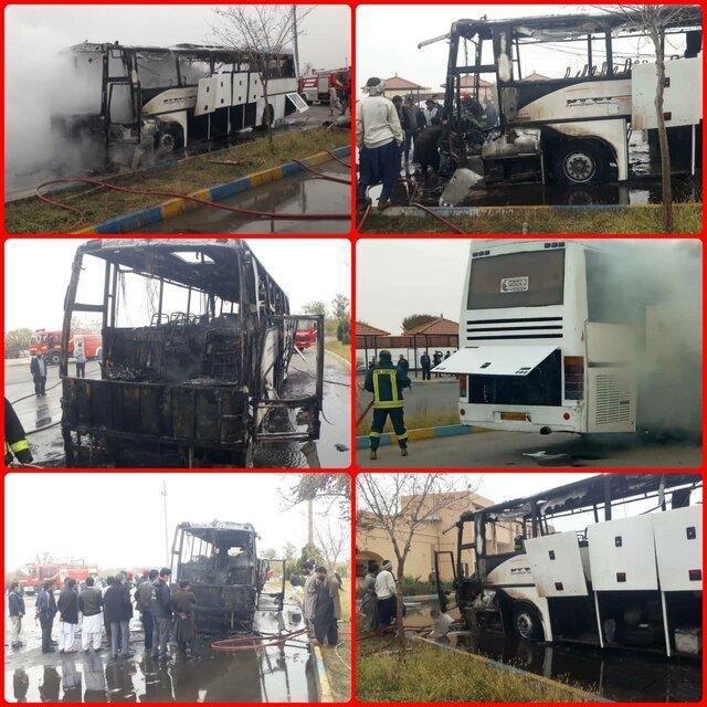 آتش سوزی در اتوبوس مسافربری یزد - زاهدان